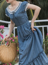 Load image into Gallery viewer, Vintage Blue Lace Cotton Prairie Dress