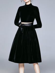 Christmas Black Classic Long Sleeve 1950S Velvet Party Dress
