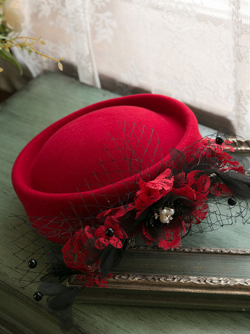 Red 1950S Pillbox Hat With Flower Tulle