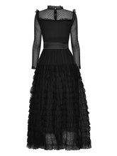 Load image into Gallery viewer, Black Lace Ruffles Tulle Long Sleeve 1950S Party Maxi Dress
