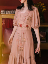 Load image into Gallery viewer, Embroidered Rose Puff Sleeve Vintage Maxi Dress