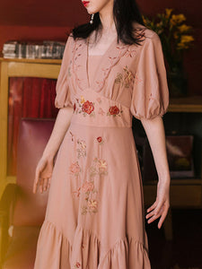Embroidered Rose Puff Sleeve Vintage Maxi Dress
