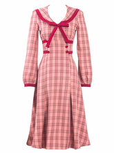Load image into Gallery viewer, Pink Sailor Collar Long Sleeve Swing Dress