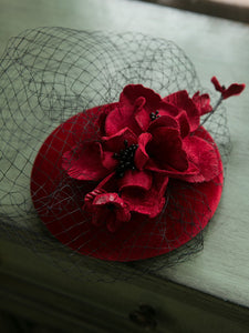 Wine Red Flower Tulle Vintage Velvet 1950S Hat