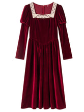 Load image into Gallery viewer, Wine Red Square Lace Collar Long Sleeve Velvet Dress