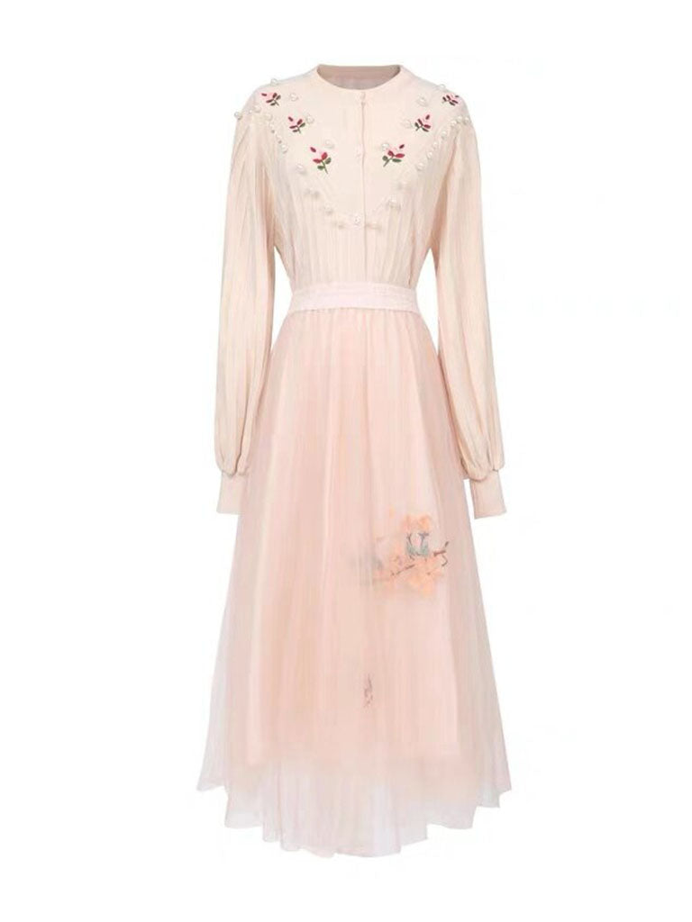 Apricot Long Sleeve Knitted Sweater And Pink Tulle Skirt Vintage Set 1950S Dresses