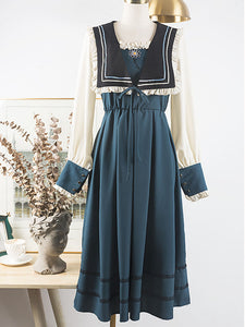 Embroidered Sailor Fall Long Sleeve Vintage Dress