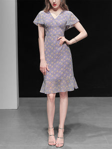 Purple Floral Butterfly Sleeve V Neck Summer Dress