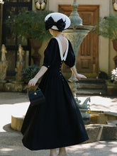 Load image into Gallery viewer, Plus Size Peter Pan Collar Vintage Backless  Puff Sleeve Little Black Dress