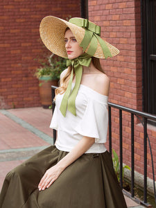 Sweet Green Bow Vintage Pride And Prejudice Same Style 1950S Straw Hat