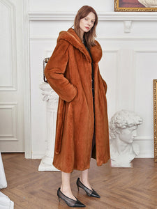 Soft Faux Fur Coat Women Long Sleeve Maxi Winter Coat With Hood