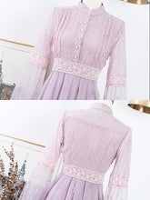 Load image into Gallery viewer, Embroidered Puff Long Sleeve Edwardian Revival Dress