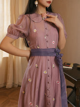Load image into Gallery viewer, Flowers Chiffon Puffed Sleeves 1950S Dress