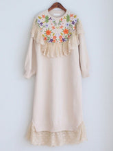 Load image into Gallery viewer, Embroidered Flower Puff Sleeve Vintage Knitting Sweater Dress