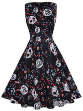 Load image into Gallery viewer, Halloween Black Skull Print 1950S Vintage Dress