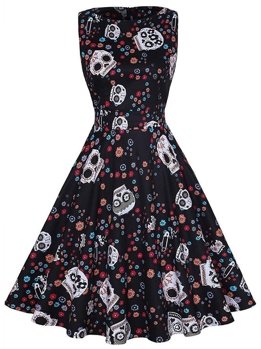 Halloween Black Skull Print 1950S Vintage Dress