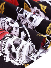 Load image into Gallery viewer, Halloween Rose Skull Printed Vintage Dress