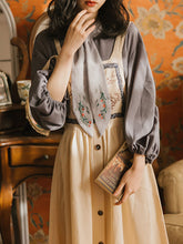 Load image into Gallery viewer, Vintage Print Button Fall Shirt Set Dress