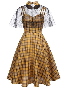 1950S Yellow Spaghetti Strap Swing Dress With Cape
