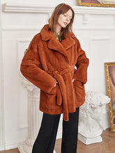 Load image into Gallery viewer, Soft Faux Fur Coat Women Long Sleeve Short Winter Coat With Belt