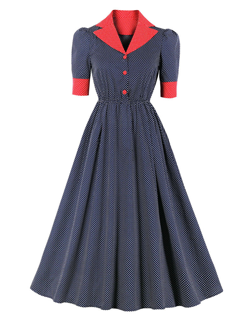 Navy Ploka Dot  Puff Sleeve Vintage Dress