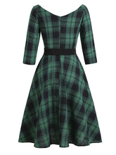 Load image into Gallery viewer, Green Plaid 1950S Swing Vintage Dress With Belt
