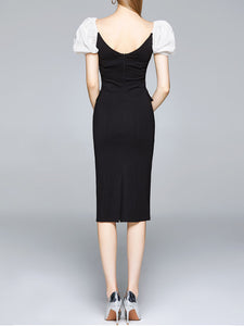 Black Puff Sleeve Buttons Pencil Dress