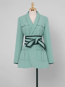 Green Long Sleeve 1950S Vintage Skirt Suit