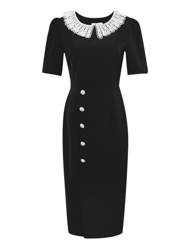 The Queen's Gambit Similar Style 1960S Dress Black Lace Collar Slit Vintage Dress