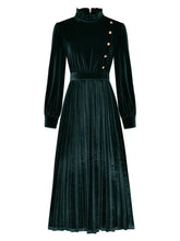 Load image into Gallery viewer, Emeral Green Long Sleeve 1950S Velvet Vintage Dress