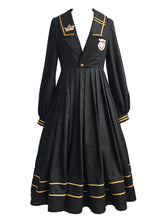 Load image into Gallery viewer, 3Pcs Black Long Sleeve Uniform Dress Set