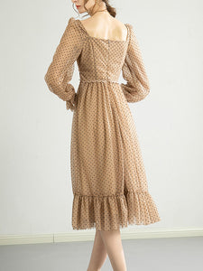 Polka Dots Lace Classic Chiffon Dress Long Sleeve 1950S Dress