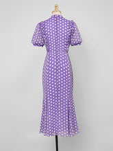 Load image into Gallery viewer, Blue Polka Dots Puff Sleeve Vintage Chiffon Dress