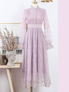 Embroidered Puff Long Sleeve Edwardian Revival Dress
