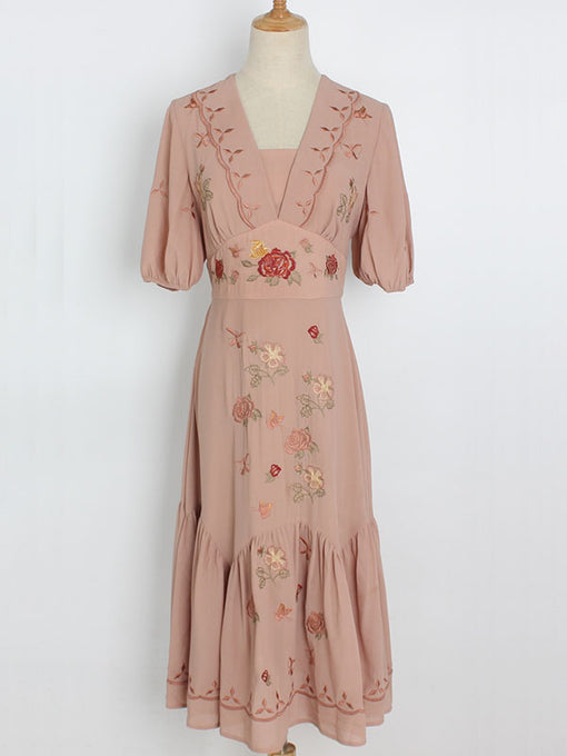 Embroidered Rose Puff Sleeve Vintage Chiffon Dress