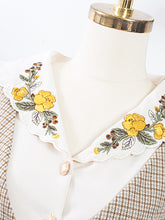 Load image into Gallery viewer, Flower Embroidered Collar Plaid Vintage Fall Long Sleeve Shirt Set Detachable Dress