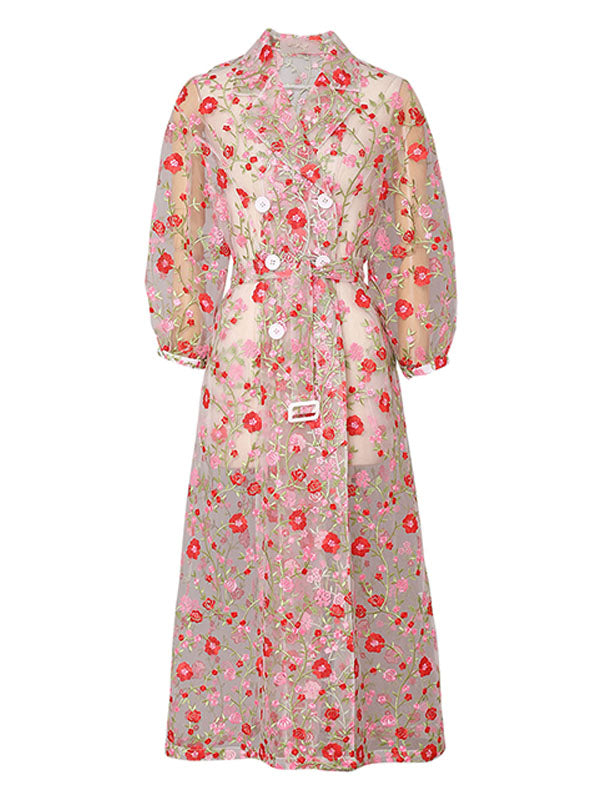 Women's Coat Flower Embroidered Lace Sheer Vintage Coat With Belt