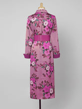 Load image into Gallery viewer, Purple Floral Print Long Sleeve 1940S Vintage Shirt Dress