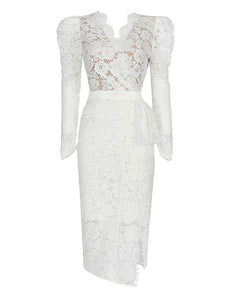 Christmas White V Neck Long Sleeve 1950S Lace Vintage Bodycon Dress