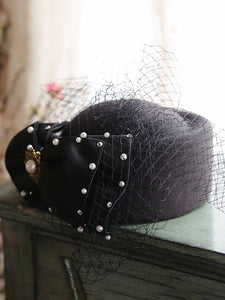 Black 1950S  Pillbox Hat With Tulle