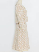Load image into Gallery viewer, Tweed Plaid Fall Long Sleeve Vintage Coat Set Dress