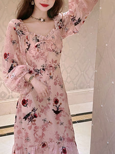 Floral Flocking Rose Chiffon Dress Long Sleeve Vintage Dress