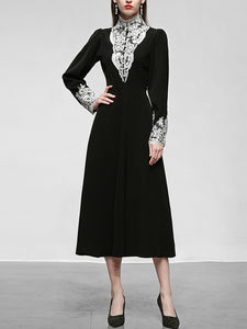 Black Lace Stand Collar Long Sleeve Vintage Victorian Dress