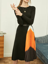 Load image into Gallery viewer, Black Knitted Sweater Maxi Dress Long Sleeve 1950S Vinatge Dress With Belt