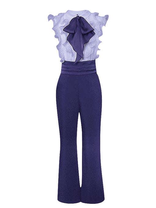 Purple Ruffles Sleeveless 1950S Vintage Pant Set