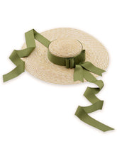 Load image into Gallery viewer, Sweet Green Bow Vintage Pride And Prejudice Same Style 1950S Straw Hat