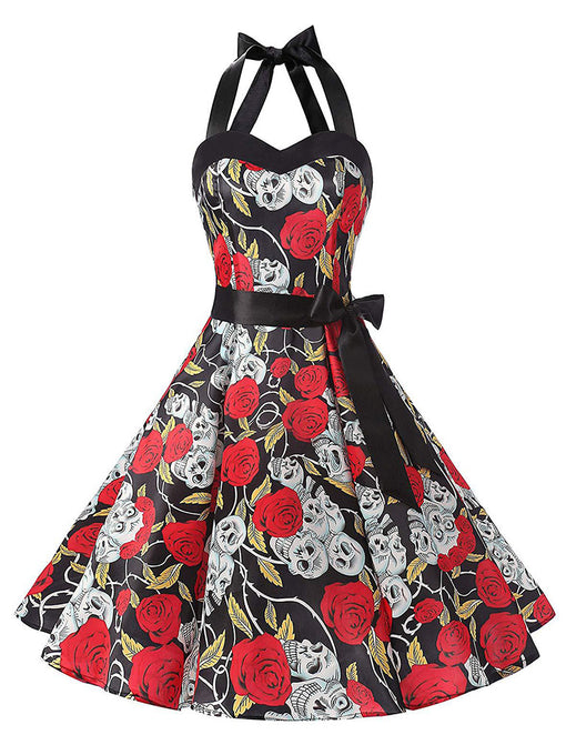 Halloween Rose Skull Printed Vintage Dress