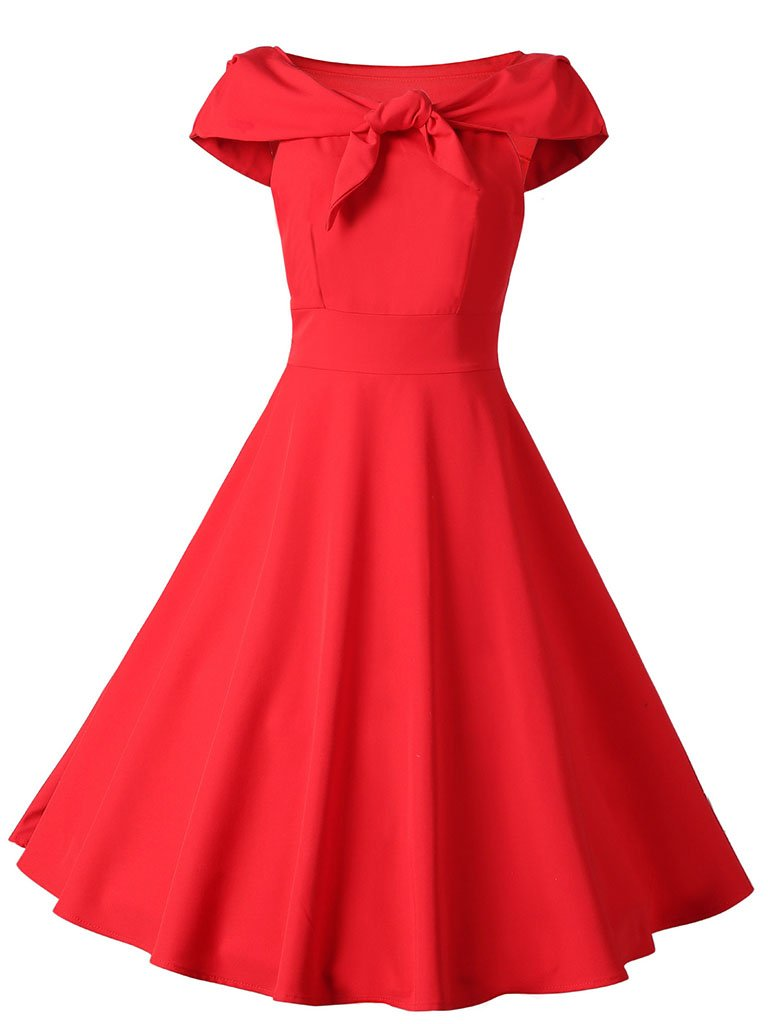 Red Bow Off Shoulder 1950S Swing Dress