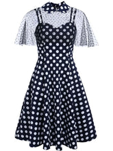 Load image into Gallery viewer, 1950S Polka Dots Swing Dress With Cape
