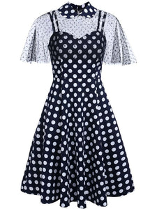 1950S Polka Dots Swing Dress With Cape